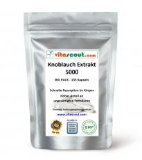 Knoblauch 180 Kapseln je 5000mg (=Extrakt 50mg 100:1) HOCHDOSIERT / Garlic - PREMIUMQUALITÄT von VITASCOUT®