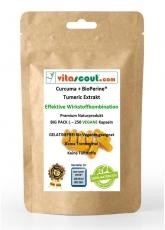 250 Kapseln VEGAN Curcuma + Bioperine® - Kurkuma - Kurkumin - Tumeric Piperine - No Tabletten