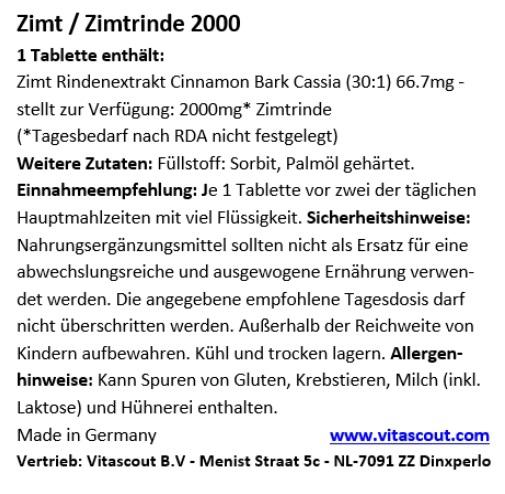Zimt/Zimtrinde Extrakt 2000 - 365 Tabletten - HÖCHSTE DOSIERUNG - MADE IN GERMANY - OHNE MAGNESIUMSTEARAT