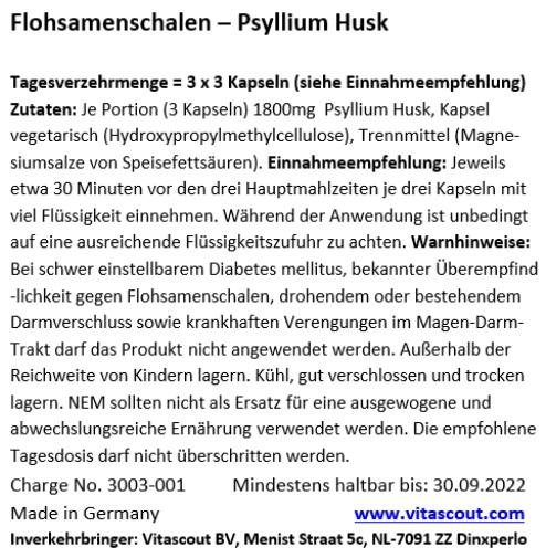 540 Kapseln Flohsamen / Flohsamenschalen - MADE IN GERMANY - LABORGEPRÜFT - vegane Kapsel