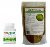 Graviola Pulver + Selen 200mcg / Sparkombi: ¤ 1,91 = über 10% sparen!