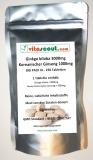Ginkgo biloba + Panax Koreanischer Ginseng Mix 4000mg - 250 Veg. Tabletten - PN: 010228